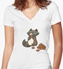 Funny little raccoon eating cookies Women's Fitted V-Neck T-Shirt