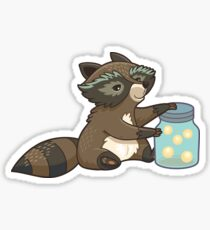 Funny little raccoon collects crickets Sticker