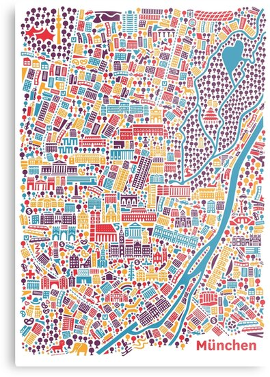 Munich City Map Poster Metal Prints by Vianina Redbubble