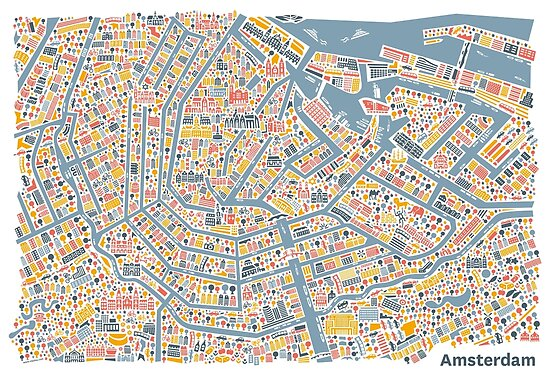 Quot Amsterdam City Map Quot Poster By Vianina Redbubble