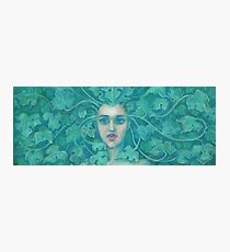 Green Lady, pastel painting, fantasy art, green forest Photographic Print