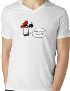 Aimez-vous l'accent? - Funny French Music Cartoon Mens V-Neck T-Shirt