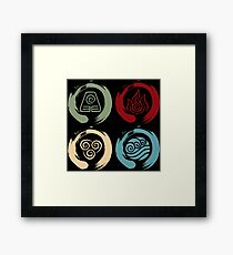 Avatar Inspired Zen Elemental Ensos (Square) Framed Print