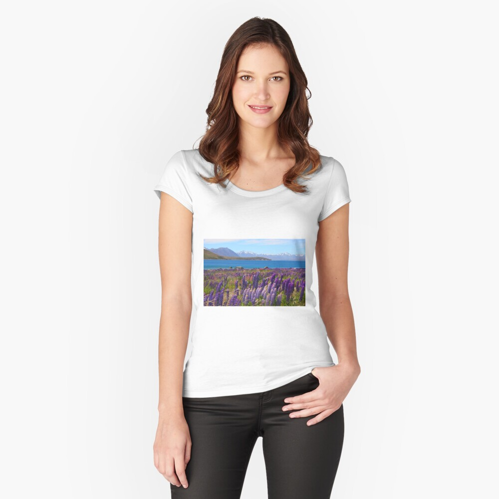 Lake Tekapo and wild flowering lupins Fitted Scoop T-Shirt