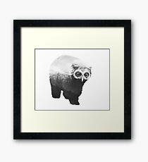 Owlbear in Mountains (Black & White) Framed Print