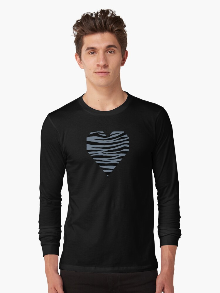 0379 Light Slate Gray Tiger Long Sleeve T-Shirt Front
