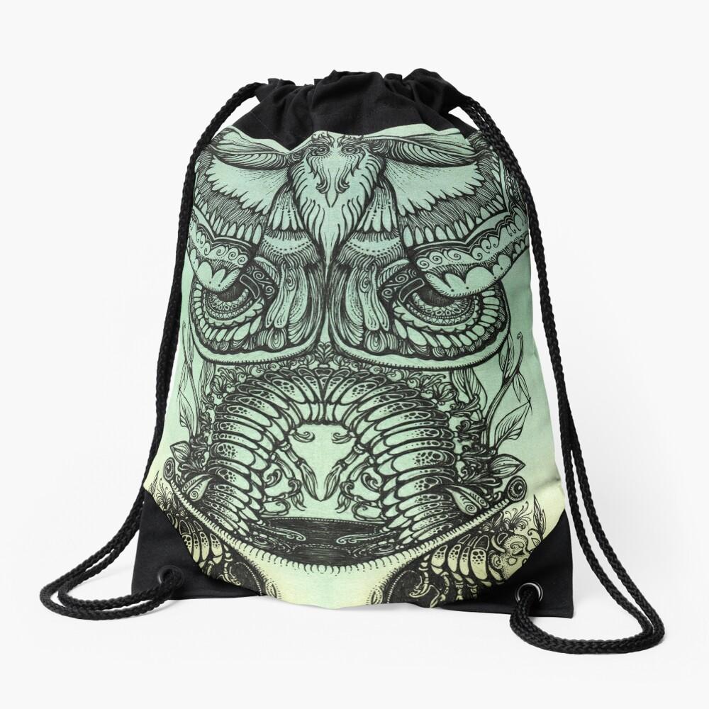 Green Moths Drawstring Bag
