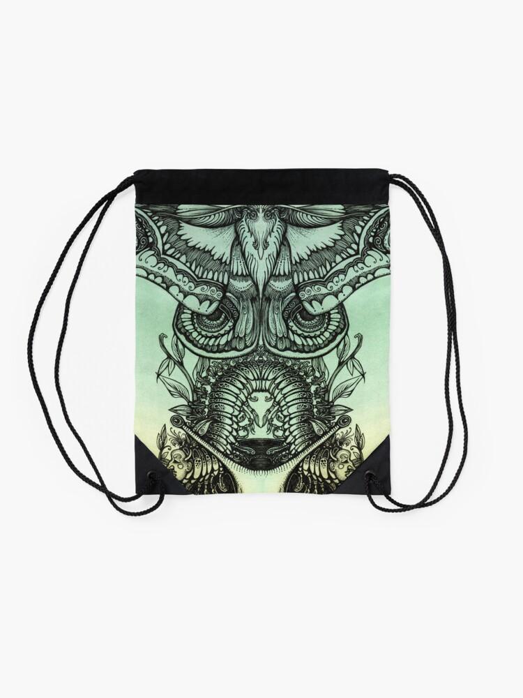 Alternate view of Green Moths Drawstring Bag