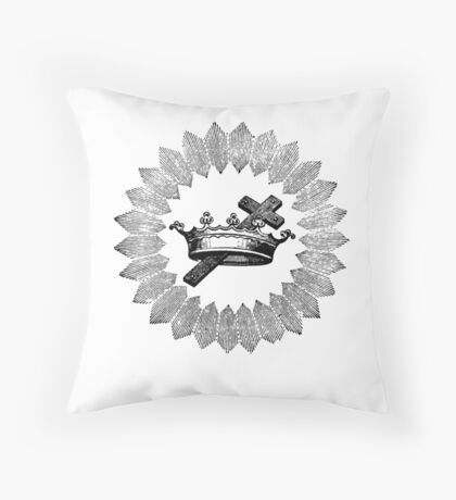 Cross and Crown Throw Pillow
