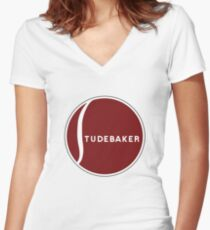 Studebaker logo Women's Fitted V-Neck T-Shirt
