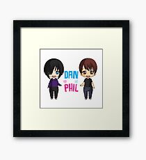 Dan and Phil  cute chibi style <3 Framed Print