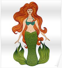 Mermaid with beautiful red hair.  Poster