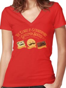 The League of Extraordinary Gentleman Biscuits Women's Fitted V-Neck T-Shirt