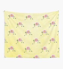 LOVELY roses on yellow - pattern Wall Tapestry