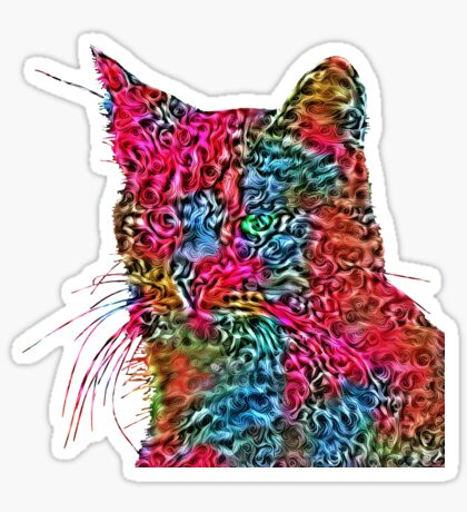 Artificial neural style Rose wild cat Sticker