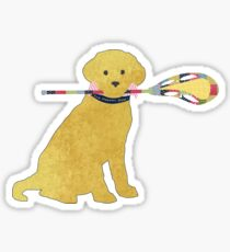 Preppy Golden Retriever Lacrosse Dog Sticker