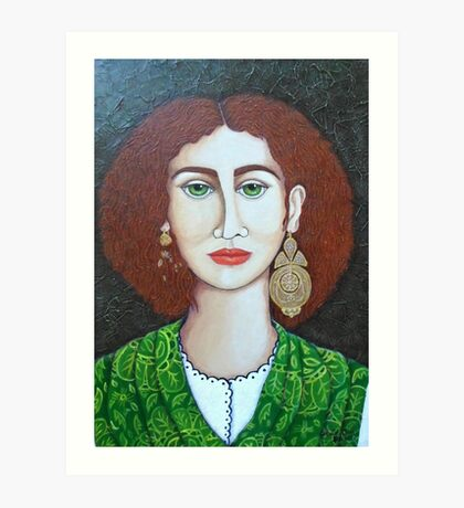 Woman with green eyes Art Print