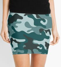 Turquoise Camouflage pattern Mini Skirt