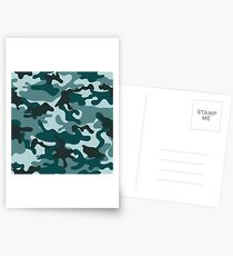 Turquoise Camouflage pattern Postcards
