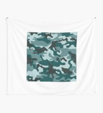 Turquoise Camouflage pattern Wall Tapestry