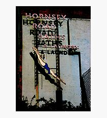 Hornsey Road Baths & Laundry neon Photographic Print