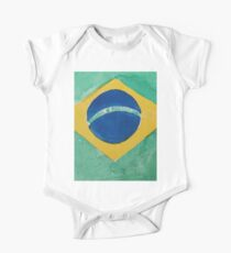 Brazil National Flag in Water Colors Green, Blue and Yellow One Piece - Short Sleeve