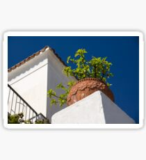 Contemplating Mediterranean Vacations - Red Tile Roofs and Terracotta Flowerpots Sticker