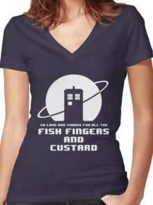 Fish Fingers and Custard White Women's Fitted V-Neck T-Shirt