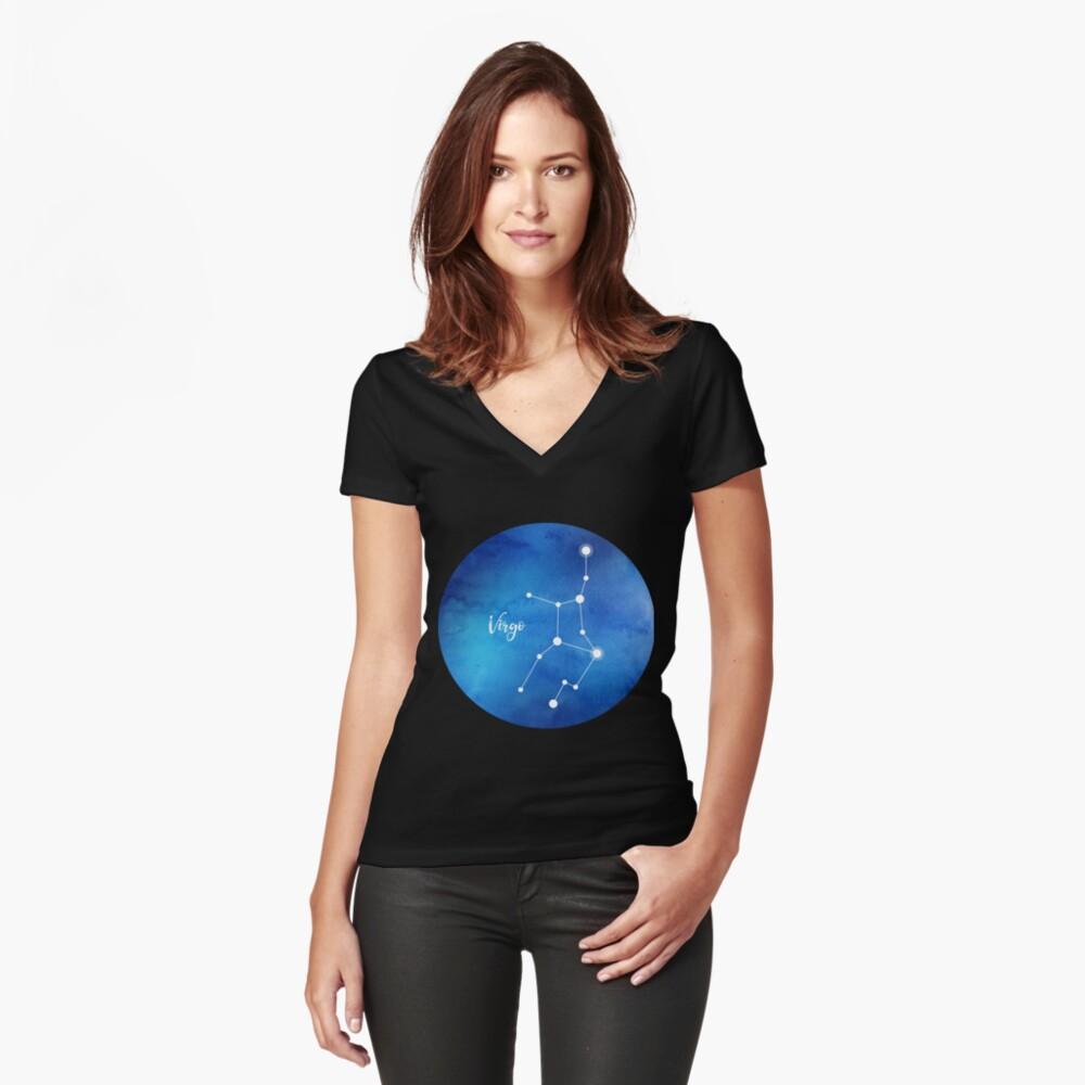 Jungfrau Sternzeichen, 23. August - 22. September Tailliertes T-Shirt mit V-Ausschnitt