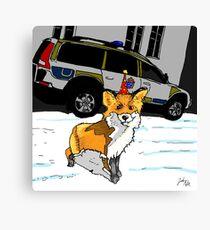 Fox n cops Canvas Print