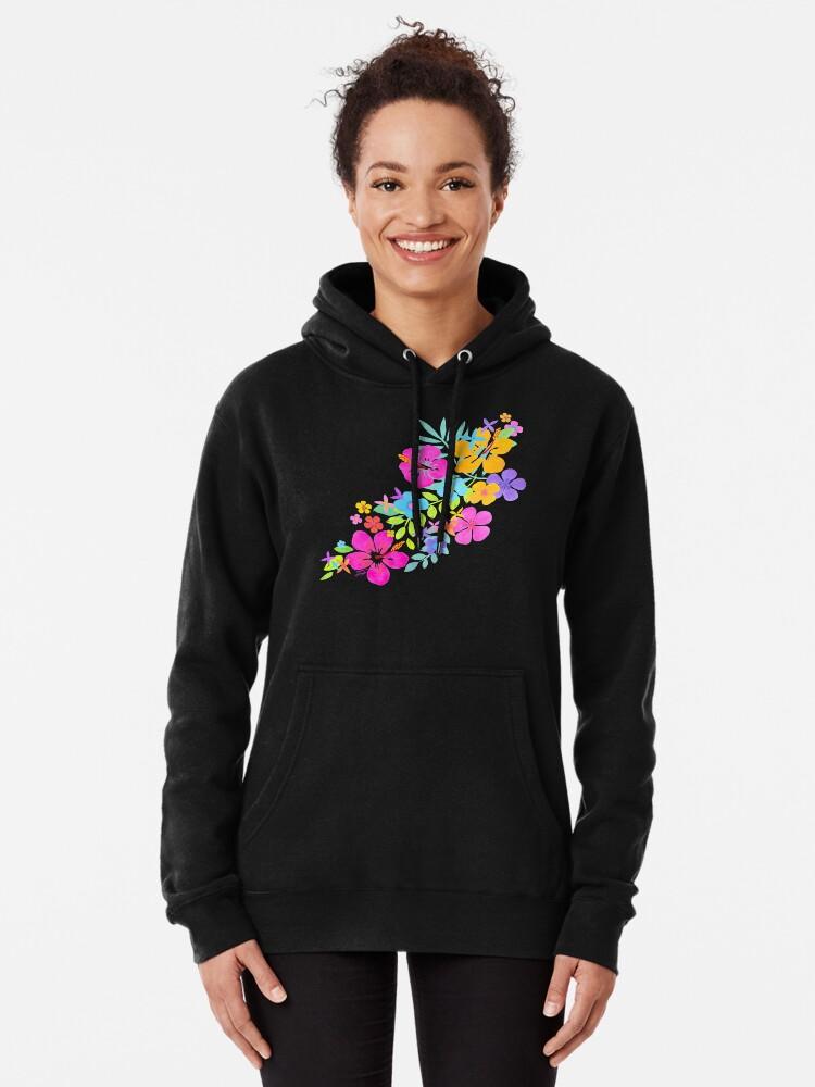 Alternative Ansicht von Tropische Aquarell Blumen Hoodie
