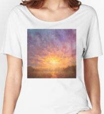 Impressionistic Sunrise Landscape Painting Women's Relaxed Fit T-Shirt