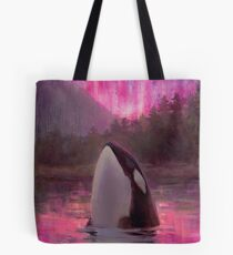 Aurora Orca - Killer Whale and Northern lights Coastal Painting Tote Bag