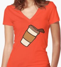 Take it Away Coffee Pattern Women's Fitted V-Neck T-Shirt