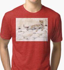 African Leopard {Panthera pardus} 'Luiperd' Tri-blend T-Shirt