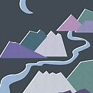 Geometric Flat Abstract Halftone Mountains Trendy Winter Colors by Beverly Claire Kaiya