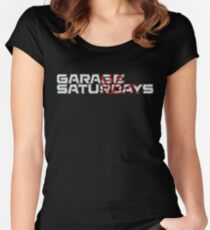 Garage Saturdays white sketch and sun Women's Fitted Scoop T-Shirt