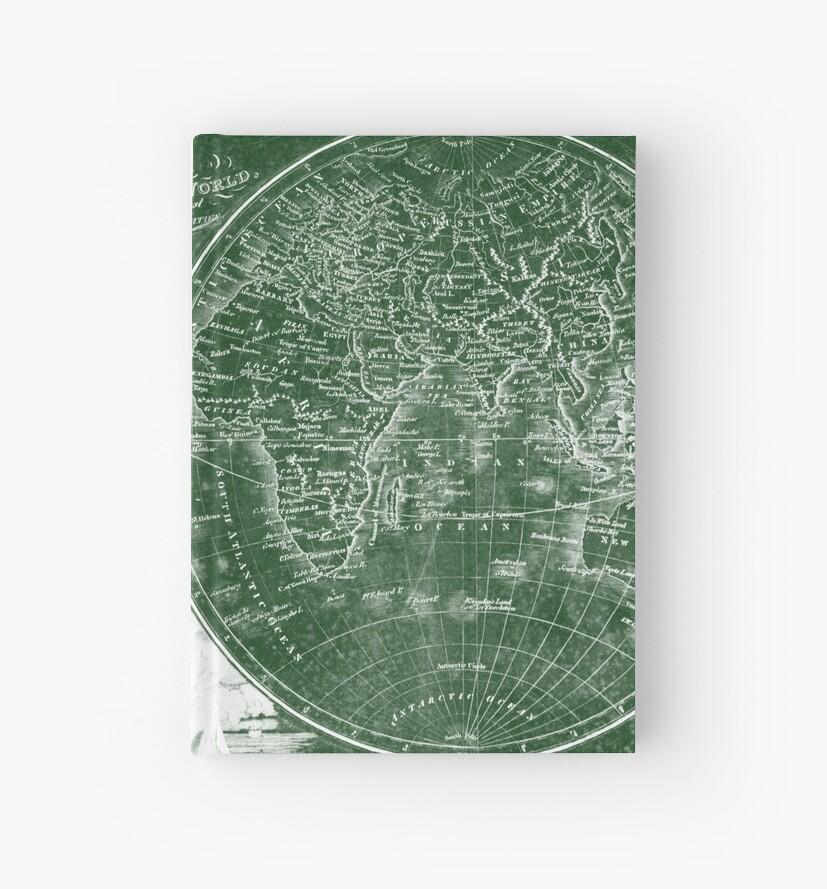 Weltkarte (1811) Grün & Weiß von BravuraMedia