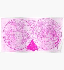 Girly World Map Posters Redbubble - Pink world map poster