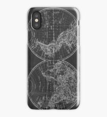 Vintage Map of The World (1857) Black & White iPhone Case/Skin