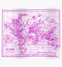 Girly world map psters redbubble pster world map 1899 white pink gumiabroncs Image collections