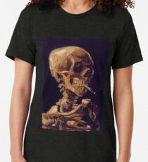 """Camiseta de tejido mixto """"Cráneo con un cigarrillo encendido"""" de Vincent Van Gogh"""
