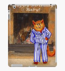 Happy Birthday Baby, cheeky ginger cat in pyjamas iPad Case/Skin