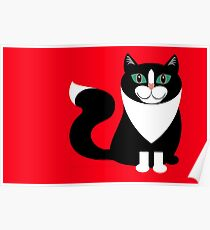 TUXEDO CAT ON RED BACKGROUND Poster
