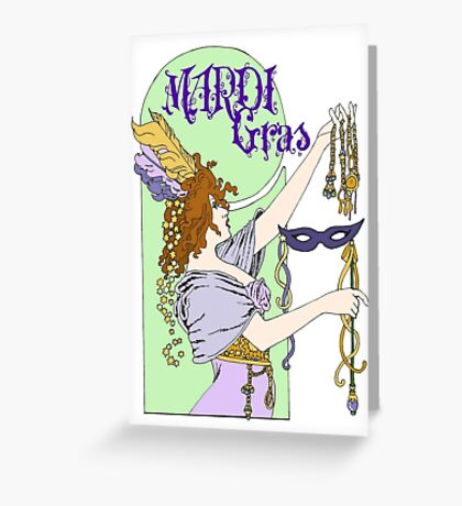 Mucha Mardi Gras Greeting Card
