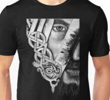 V Logo with Half Face King Ragnar Vikings Unisex T-Shirt