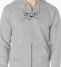 Angry Cat-Face Zipped Hoodie