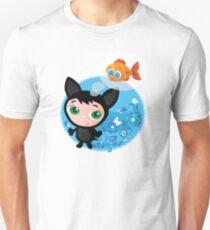 Cute funny kitten with fish vector illustration Unisex T-Shirt