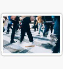 Blurred Legs of People Crossing Shibuya Crossing in Tokyo Sticker