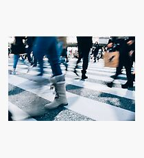 Blur of People Crossing Shibuya Crossing in Tokyo Photographic Print